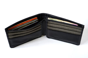 Pure leather black men's wallet, top view with 11 cards and 1 cash pocket