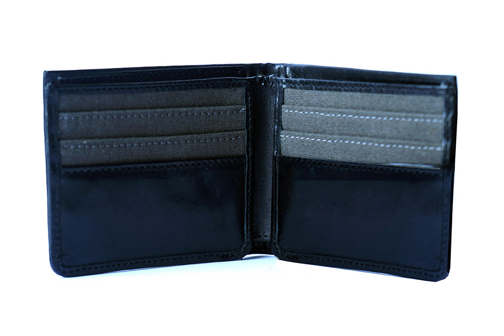 Pure leather black wallet for men, front open