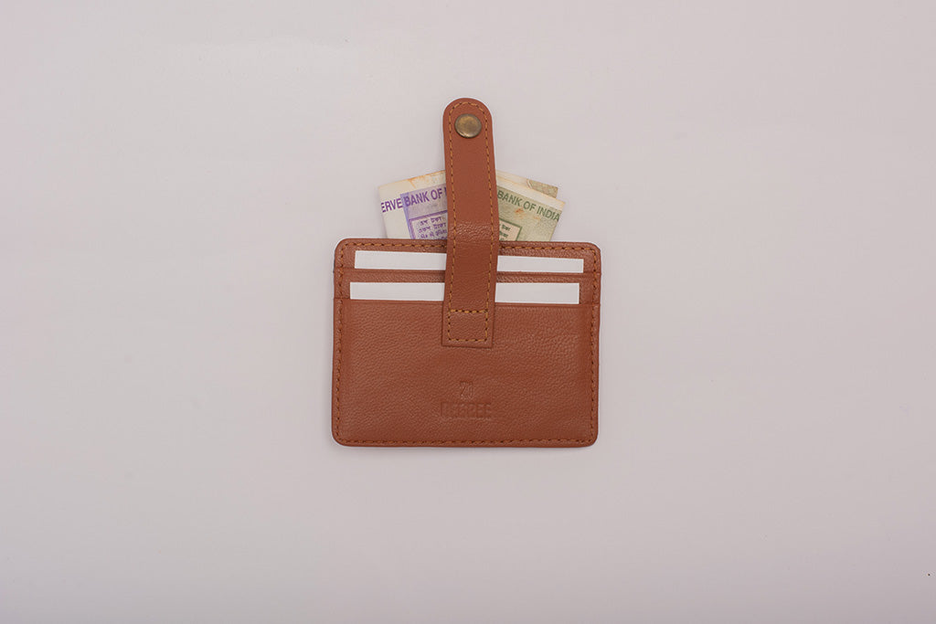 Back side of 21 degree 5 pocket tan cardholder