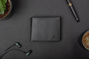 Black wallet for men with a maximum pockets