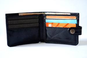 Black men's wallet with button, front utility view