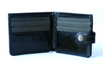 Load image into Gallery viewer, Men's black genuine leather wallet with button, open front view