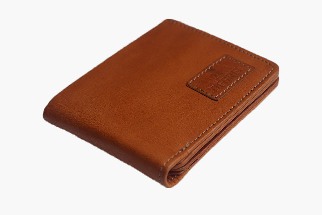tan wallet for man made of pure leather