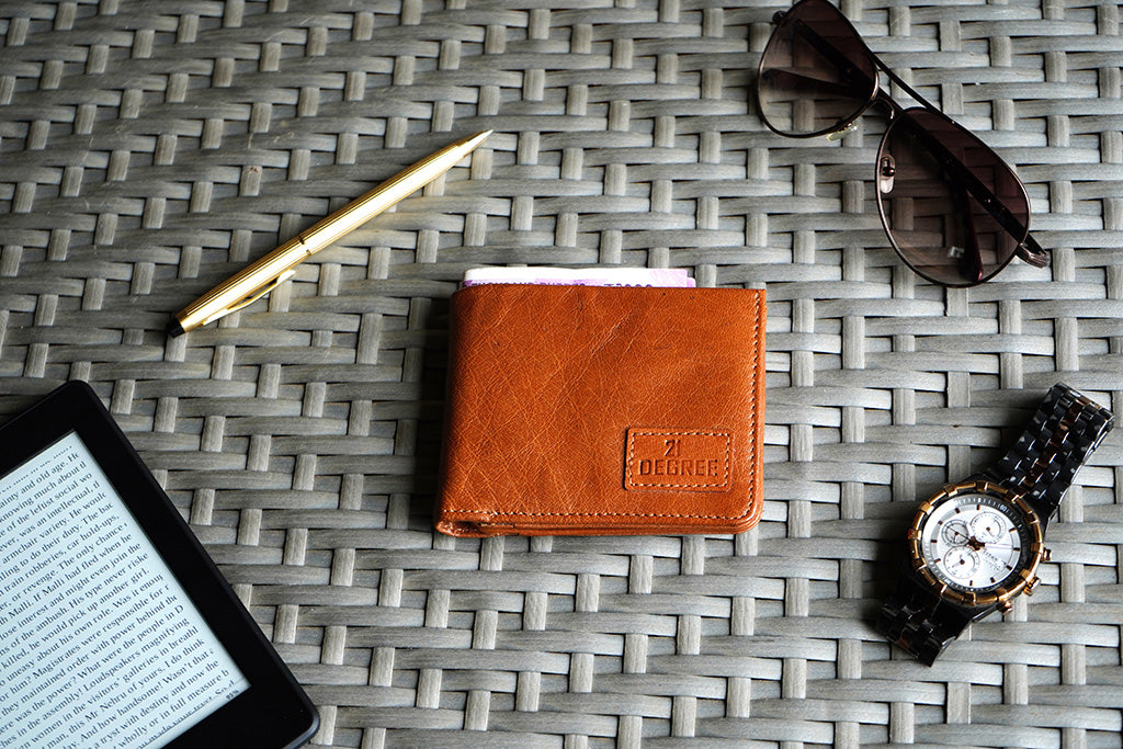 Pure leather men's wallet, tan color