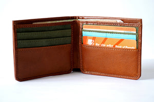 Genuine leather, slim wallet in tan colour, front utility view