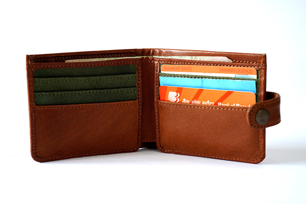 Genuine leather men's tan wallet, front open view with utility