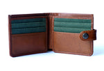 Load image into Gallery viewer, Genuine leather men's wallet tan with button, front open view