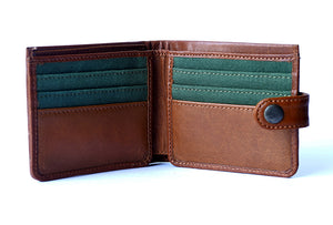 Genuine leather men's wallet tan with button, front open view