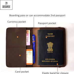 Brown passport cover details