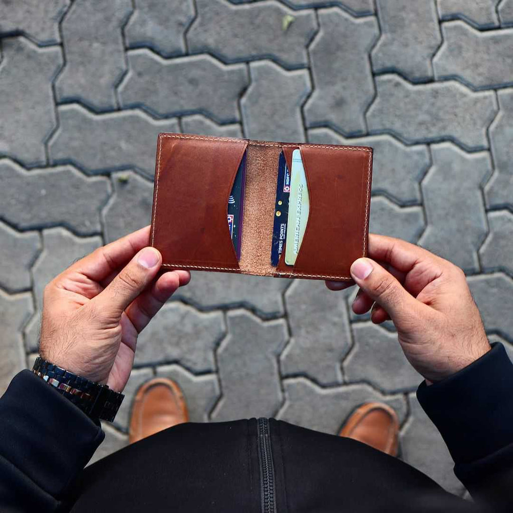 Leather cardholder with 4 pockets suede leather