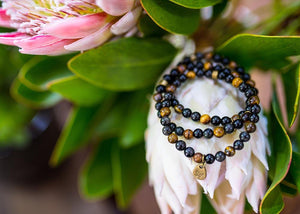 Load image into Gallery viewer, Obsidian and Tiger Eye Bracelet