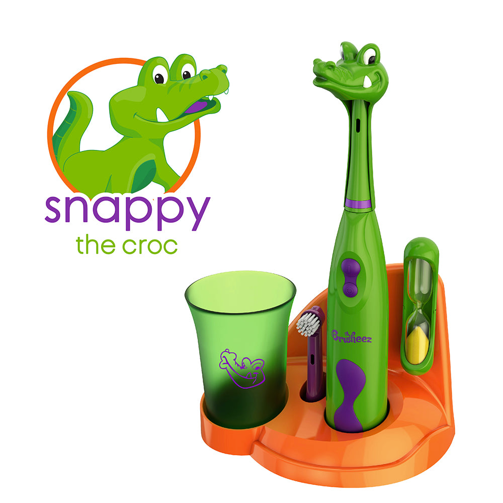 Electric Toothbrush Set - Snappy The Croc | Brusheez®