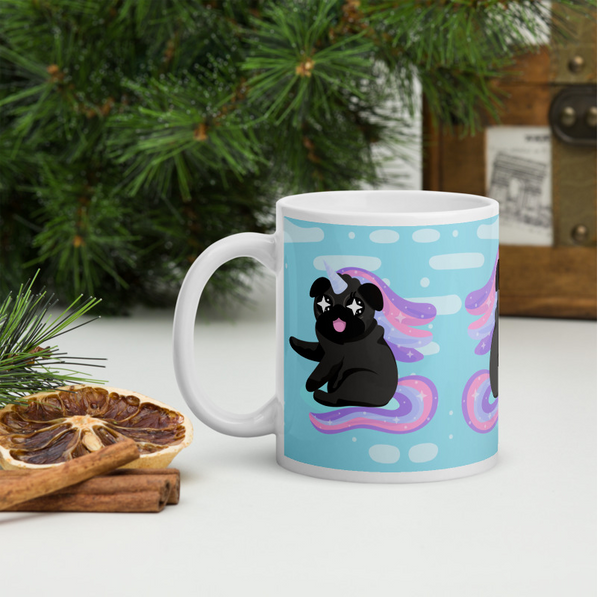 black pug unicorn mug