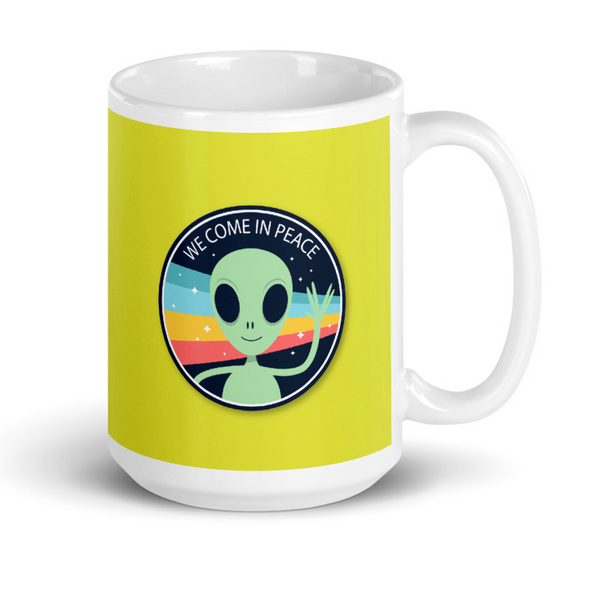 alien peace rainbow mug