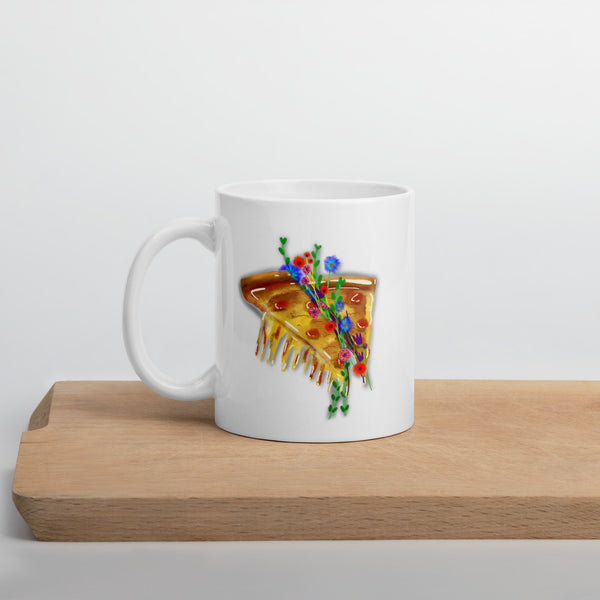melting pizza with flowers mug