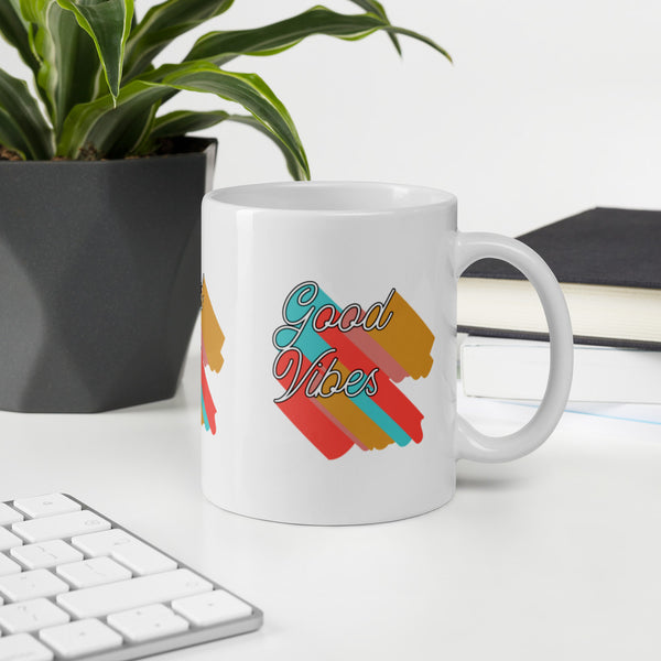 Colorful good vibes mug