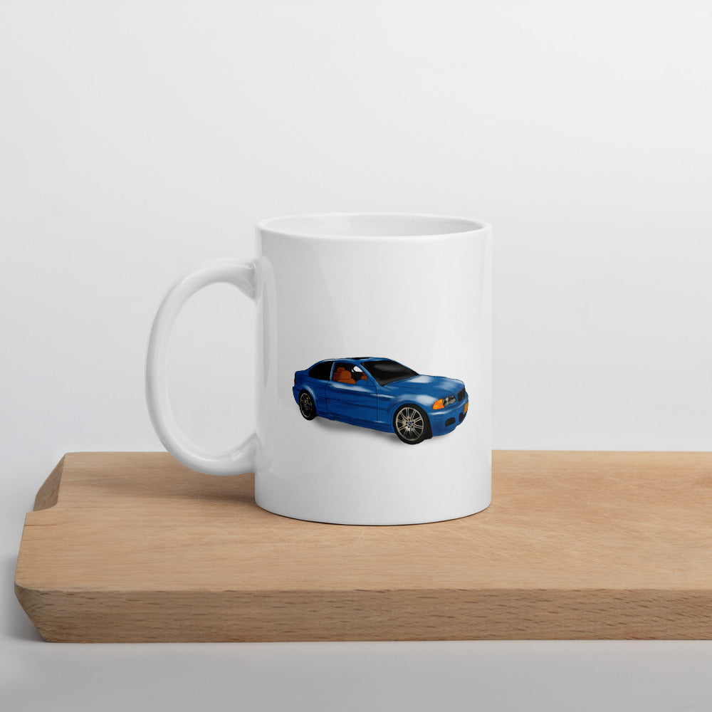 bmw m3 blue car mug