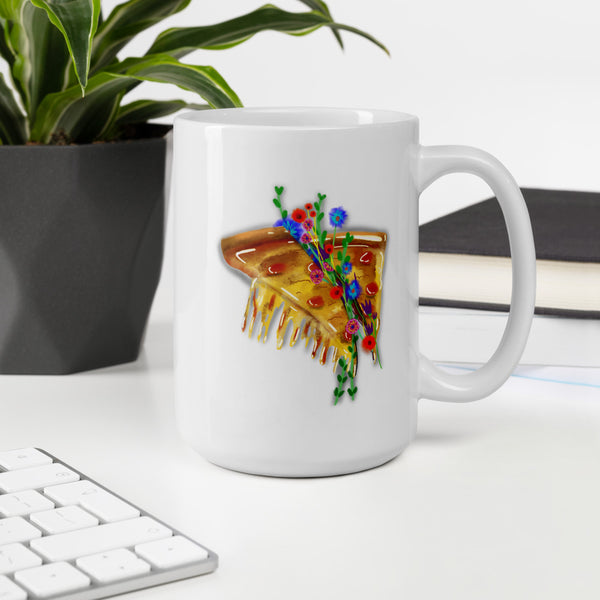 pizza flowers mug