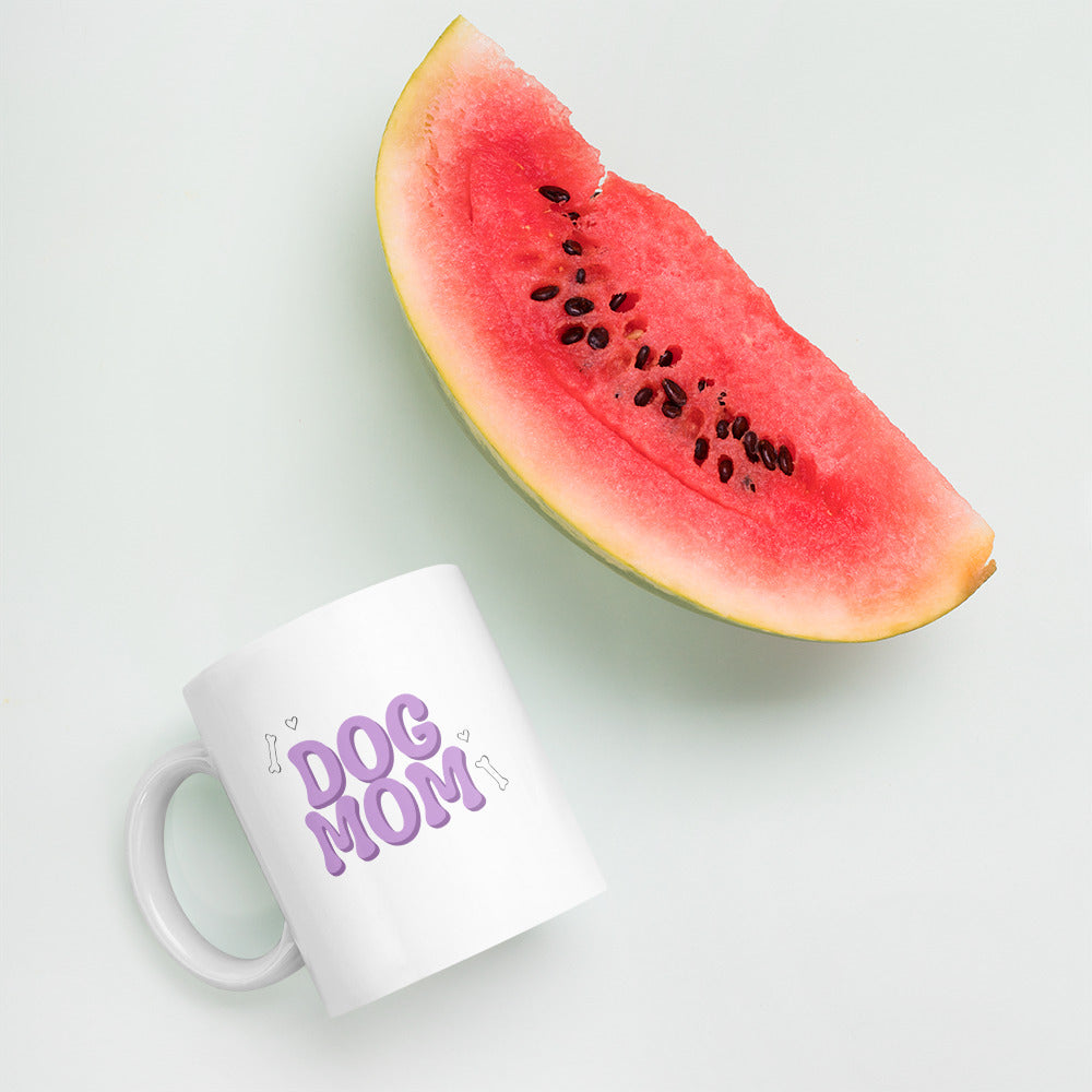 Cute Lavender Dog Mom Mug Bone Pattern