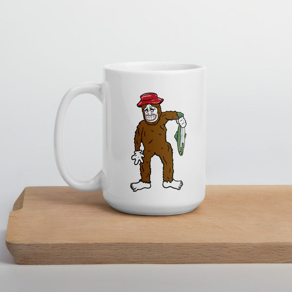 Sasquatch fishing mug