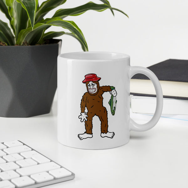 big foot fishing mug