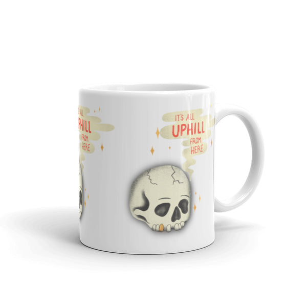 It's All Uphill Skull Mug
