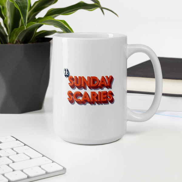 Sunday Scary Red Text Mug