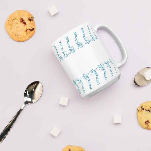 Cute Blue Giraffe Pattern Mug