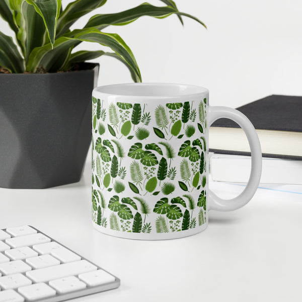 Tropical leaves pattern mug