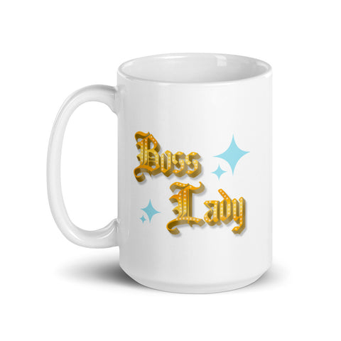 boss lady gold sparkle mug