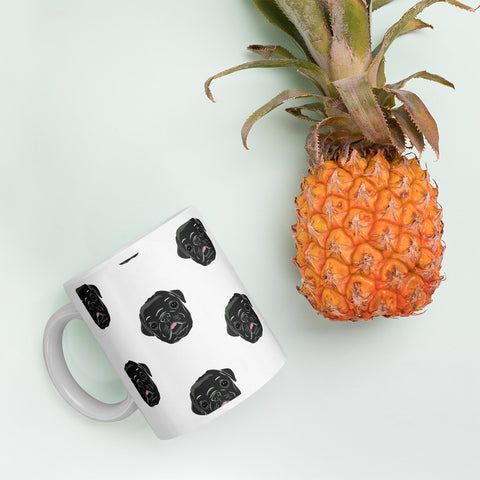 Black Pug Puppy Pattern Mug