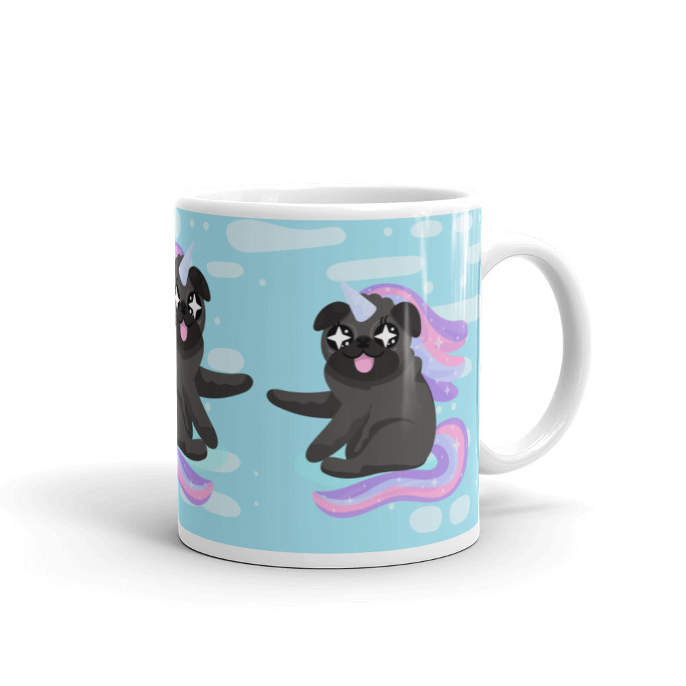 unicorn black pug mug