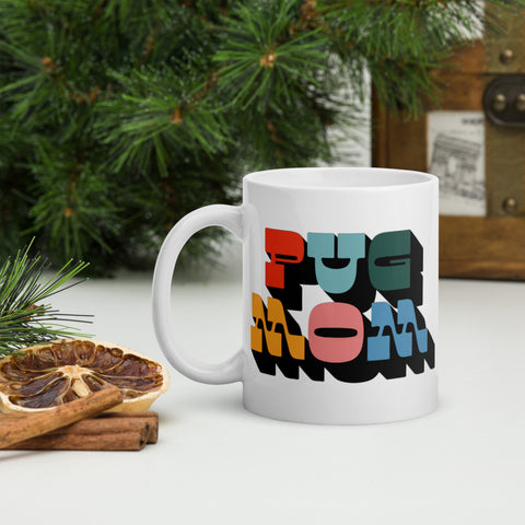 Pug Mom Chunky Rainbow Mug