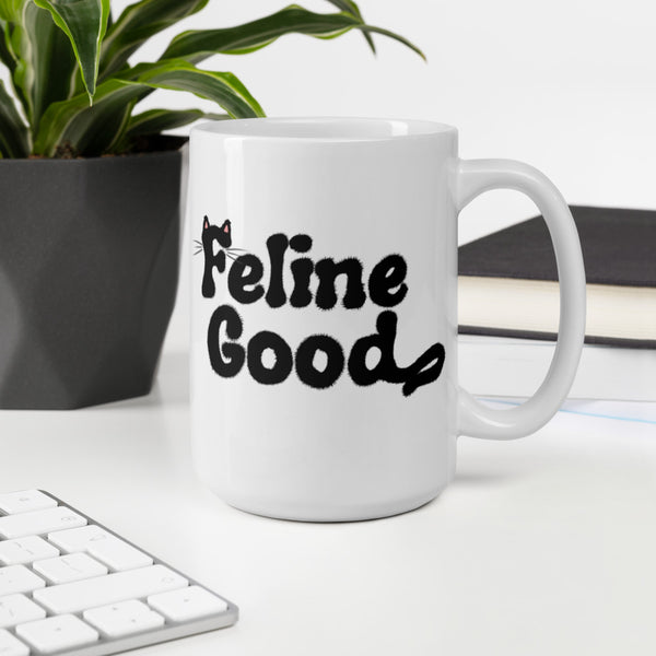 funny black cat mug feline good