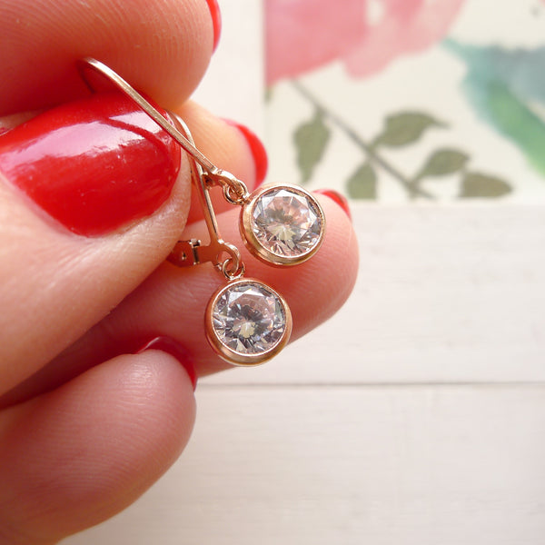Dainty Rose Gold CZ Leverback Earrings