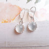 Crowned Moonstone Leverback Earrings