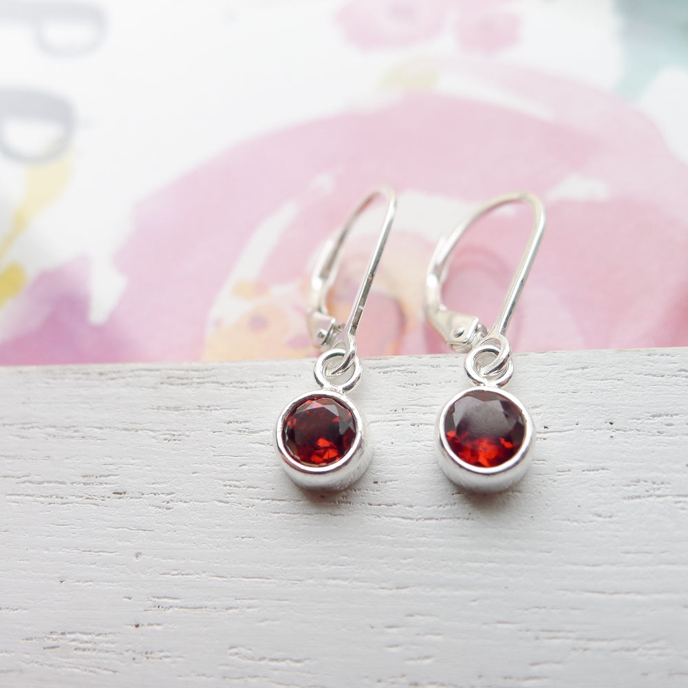 Garnet Drop Earrings Sterling Silver Leverbacks