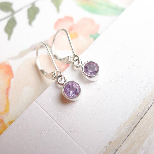 Amethyst Leverback Earrings