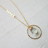 Green Amethyst Hammered Hoop Necklace with Asymetrical Sequins