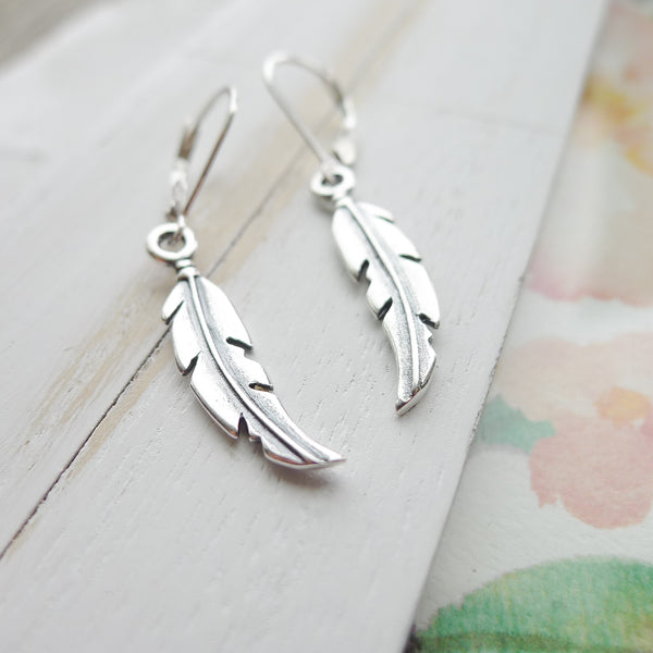Feather Earrings Sterling Silver Leverback Dangle Boho Jewelry