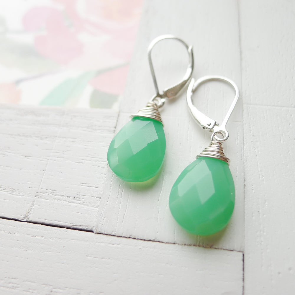 Green Chrysoprase Quartz Earrings Faceted Briolette Leverback Sterling Silver