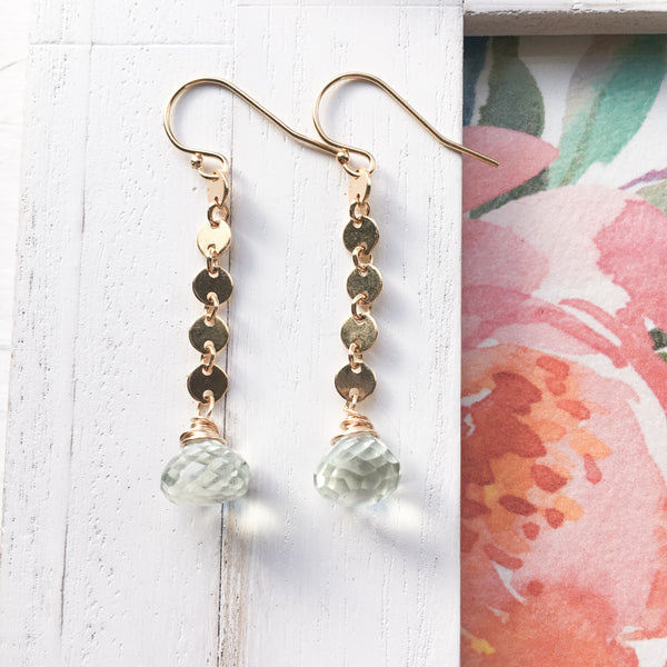 Green Amethyst Sequin Drop Earrings in Gold