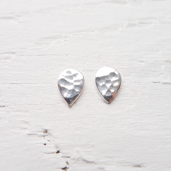 Spade or Teardrop Hammered Stud Earrings