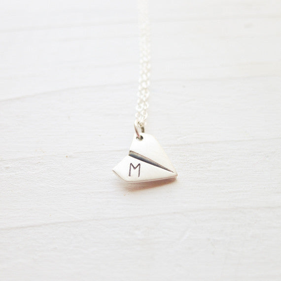 Personalized Paper Airplane Necklace
