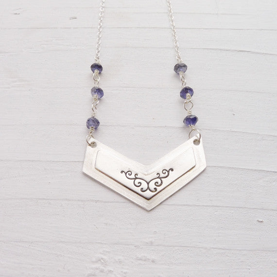 As Seen on The Vampire Diaries Chevron Necklace with Iolite Stones