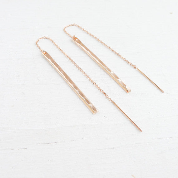 Hammered Stick Threader Earrings {Silver, Gold, or Rose Gold}