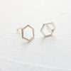 Sterling Silver Hexagon Stud Earrings