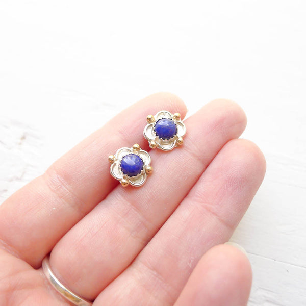 Lapis Lazuli Flower Stud Earrings