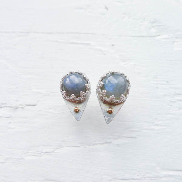 Labradorite Spike Stud Earrings 14K Gold Accents