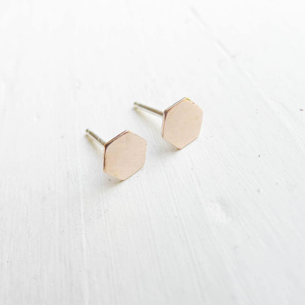 Honeycomb Studs in Silver and Gold